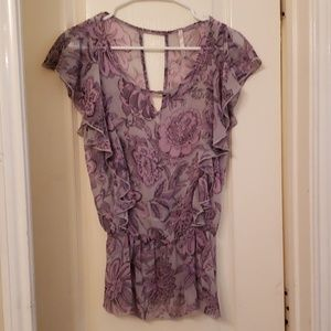 Purple Flutter Sleeve Top